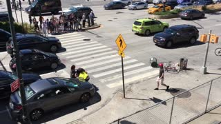 Driver and Cyclist Fighting in the Street. Police Break it Up. - Video
