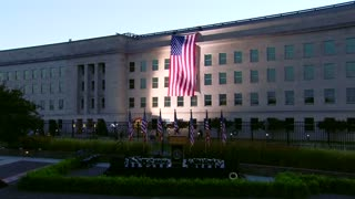American flag unfurled at Pentagon for Sept. 11 - Video