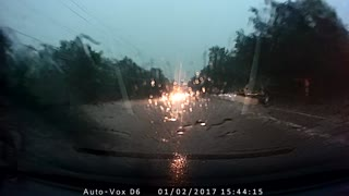 Massive Roadside Lightning Strike During Florida Rain Storm - Video