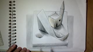 Artist Drawing 3D Illusion platform