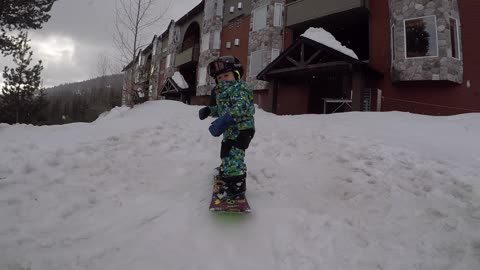 Dad Builds Backyard Ramp For 1-Year-Old Snowboarder