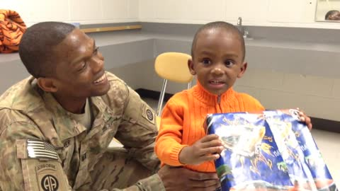 Deployed soldier arrives home early to surprise his son!
