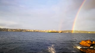 Double Rainbow Over Sydney Harbour During Sunset - Video