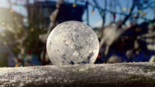 Soap bubble freezes instantly in real-time