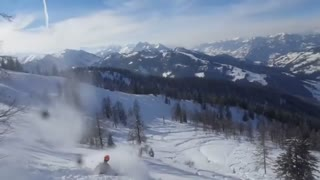 Orange helmet backflip loses skis - Video