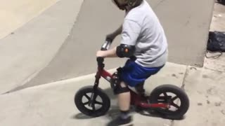 Collab copyright protection - boy red bike ramp fall - Video