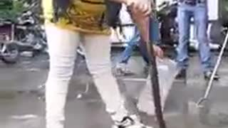 A brave Girl is playing with Dangerous Snake  - Video