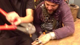 Bam Margera (Part 2) Getting The Rings Cut Off Fingers by Blacksmith Rait in Estonia - Video