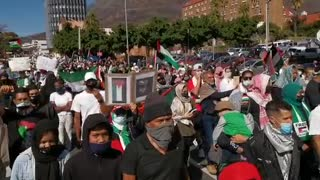 Hundreds showed up to join the Palestine Solidarity Campaign Cape Town as they march Parliament