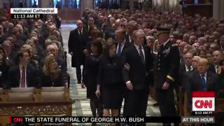 Former President George W. Bush greets current and former presidents at father's funeral
