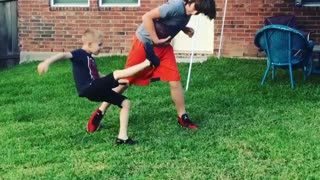 Collab copyright protection - two brothers football slip and fall - Video