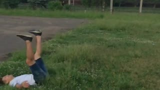 russia somersault jumping summer vacation