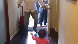 Toddler Bypasses Dad For Grandma When He Returns From Trip - Video