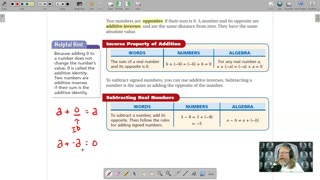 Algebra 1 - Chapter 1, Lesson 2 - Adding and Subtracting Real Numbers