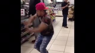 Pink hat floral shirt dancing inside 7/11 - Video