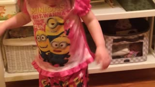 Jaylen and her Minion Pajamas - Video