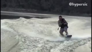 Collab copyright protection - man black vest waterski faceplant - Video
