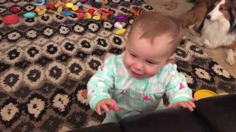 Adorable baby gets scared, then doesn't know how to react!