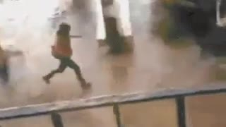 Girl Fell down while Running in Heavy Rain - Video