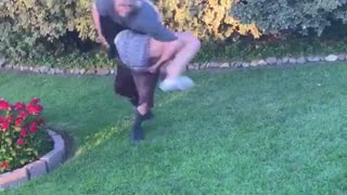 Guy and girl try doing flip trick and guy fall on girl - Video