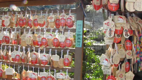 Japanese wishing plaques at a Temple in Kyoto