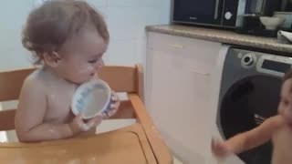 Baby brother and sister laughing - Video