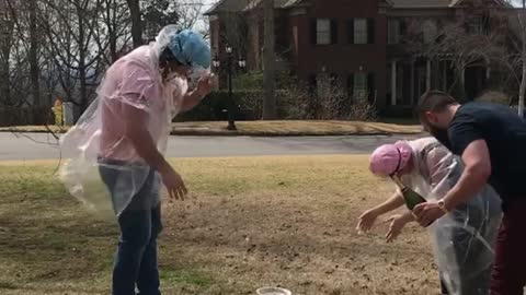 Pie in the face gender reveal doesn't go as planned