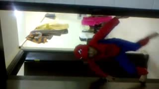 A baby act like spidermen
