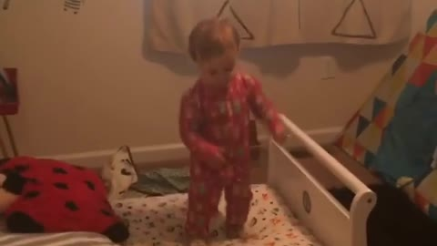 Baby Shuts Down And Falls Off Bed