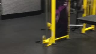Man blue shirt jumps on table gym fall