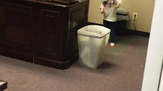 Girl In Giant Tiger Mask Trips Over Garbage She Can't See