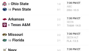 College Football Saturday SCHEDULE