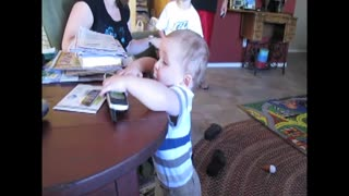 Little Boy Makes Hilarious Face When Telephone Rings - Video