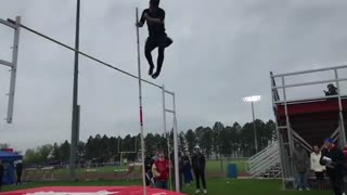 EPIC Pole vault fail! You gotta get go of the pole bro! - Video