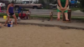Toddler Knocks Out His Twin With A Swing Set - Video
