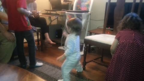 Toddler falls off stage while performing!