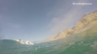 First person view surfing on white board - Video