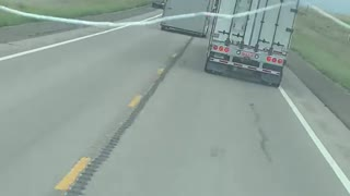 Semi Swerves to Avoid Slamming Overtaking Car