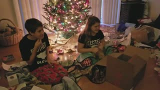 Kids completely freak out for Christmas puppy surprise - Video