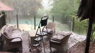 Hail Storm Pelts Patio