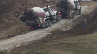 Cement Truck Tips and Falls - Video