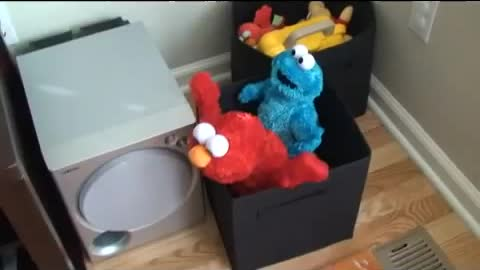 Elmo and Cookie Monster Toys Having a Great Time Together