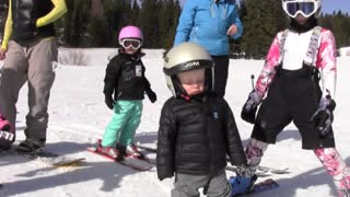 Toddler Falls Asleep While Snowboarding - Video