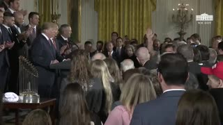 Trump Lauds Houston Astros and Singles Out Audience Members for Response to Hurricane Harvey - Video