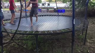 Dad does front flip and back flip!