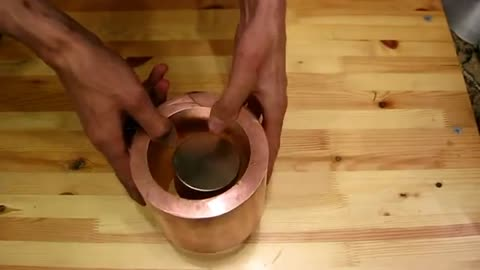 What happens when a magnet passes through a copper cylinder