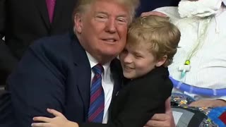 Boy battling MS tries multiple times to hug President Trump.
