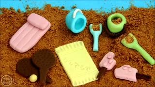 How to make cute Fondant Beach Cake/Cupcake Toppers Tutorial - Video