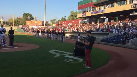 Dude shreds guitar during epic National Anthem performance