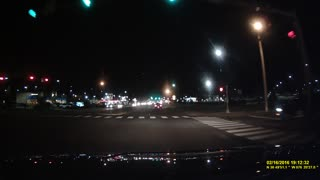 Meteor in Sky Filmed on Dashcam Portsmouth Virginia 02/16/2016